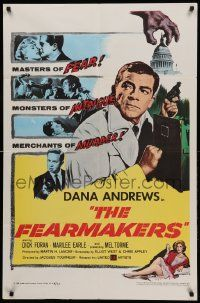1j326 FEARMAKERS 1sh '58 Dana Andrews with gun, sexy Marilee Earle, Mel Torme, Jacques Tourneur