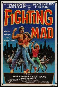 1j335 FIGHTING MAD 1sh '78 Leon & Jayne Kennedy, beaten, betrayed, and bustin' loose!