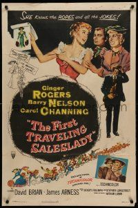 1j338 FIRST TRAVELING SALESLADY 1sh '56 Ginger Rogers sells barbed-wire in Texas!