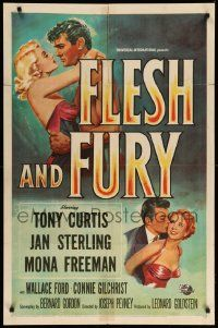 1j343 FLESH & FURY 1sh '52 boxer Tony Curtis has fury in his fists & naked hunger in his heart!