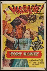 1j349 FORT BOWIE 1sh '58 wild savage Native American massacre image!