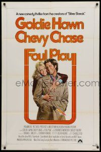 1j350 FOUL PLAY 1sh '78 wacky Lettick art of Goldie Hawn & Chevy Chase, screwball comedy!