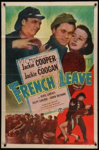 1j352 FRENCH LEAVE 1sh '48 kid stars Jackie Cooper & Jackie Coogan all grown up and romancing!