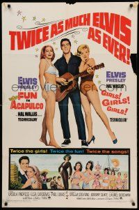 1j355 FUN IN ACAPULCO/GIRLS GIRLS GIRLS 1sh '67 Elvis Presley with his guitar & sexy babes!