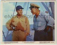1s032 MISTER ROBERTS color 8x10 still #6 '55 great c/u of Ward Bond staring at wet Jack Lemmon!