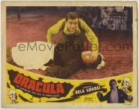 1y015 DRACULA LC #6 R51 Tod Browning, c/u of crazed Dwight Frye kneeling over unconscious maid!