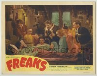 1y018 FREAKS LC R49 Tod Browning classic, great image of many top cast members around bed!