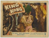 1y011 KING KONG LC #2 R56 Robert Armstrong looks at Bruce Cabot holding beautiful Fay Wray!