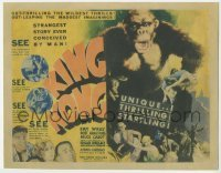 1y001 KING KONG TC '33 great art of him holding Fay Wray + inset images & taglines, ultra rare!