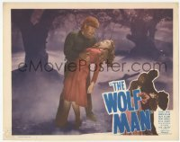 1y037 WOLF MAN LC #5 R48 werewolf Lon Chaney Jr. holding unconscious Evelyn Ankers in forest!