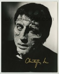 2a026 CHRISTOPHER LEE signed 8x10 REPRO still '80s c/u in full makeup from Curse of Frankenstein!