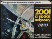2a230 2001: A SPACE ODYSSEY Cinerama premiere British quad '68 Kubrick, space wheel art, ultra rare!