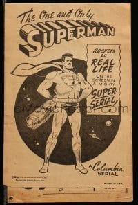 2a018 SUPERMAN herald '48 filled with comic strip art for this Columbia serial, cool & ultra rare!
