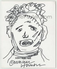 2a022 GUNNAR HANSEN signed 8x10 drawing '93 he drew himself as Leatherface from Chainsaw Massacre!