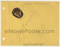 2a023 JOHN CARRADINE/EUGENE PALLETTE 5x6 autograph book page '30s they each signed one side of it!