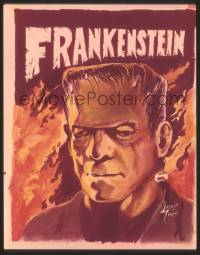 2a024 CASTLE OF FRANKENSTEIN 4x5 transparency '62 1st issue magazine cover art by Larry Ivie!