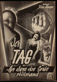 2a012 DAY THE EARTH STOOD STILL Austrian program '53 different images of Patricia Neal & Gort!