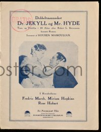 2a016 DR. JEKYLL & MR. HYDE Danish program '32 Fredric March, Miriam Hopkins, different images!