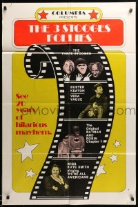 2b002 3 STOOGES FOLLIES 1sh '74 images of The Three Stooges, Buster Keaton, Vera Vague & Batman!