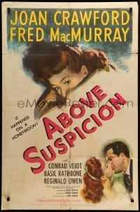 2b012 ABOVE SUSPICION style C 1sh '43 Joan Crawford, MacMurray, it happened on a honeymoon!
