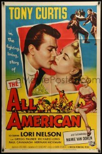 2b024 ALL AMERICAN 1sh '53 Tony Curtis kissing sexy Mamie Van Doren in her first, football!