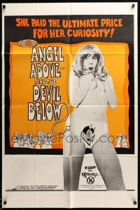 2b029 ANGEL ABOVE & THE DEVIL BELOW 1sh '74 Laine paid the ultimate price for her curiosity!