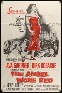 2b030 ANGEL WORE RED 1sh '60 sexy full-length Ava Gardner, Dirk Bogarde has a price on his head!