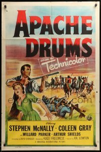 2b036 APACHE DRUMS 1sh '51 Val Lewton's last, art of Stephen McNally & Coleen Gray!