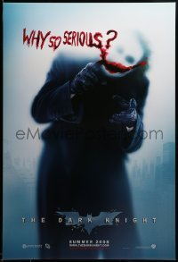 2g573 DARK KNIGHT teaser DS 1sh '08 great image of Heath Ledger as the Joker, why so serious?