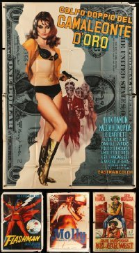 2m068 LOT OF 4 FOLDED ITALIAN TWO-PANELS '60s-70s spaghetti western, sexploitation & comedy!