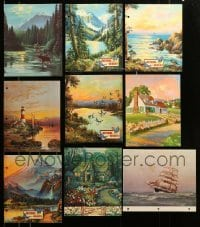 2m042 LOT OF 9 1930S-1940S CALENDAR PRINTS '30s-40s great colorful art of nature scenes & more!