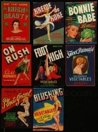 2m041 LOT OF 8 VEGETABLE CRATE LABELS '40s all with great artwork of sexy women!