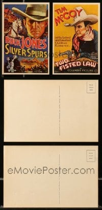 2m016 LOT OF 2 WESTERN POSTCARDS '71 Buck Jones in Silver Spurs & Tim McCoy in Two Fisted Law!