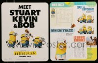 2m037 LOT OF 7 MINIONS PROMO CARDS '15 Meet Start, Kevin & Bob, cool games on the back!