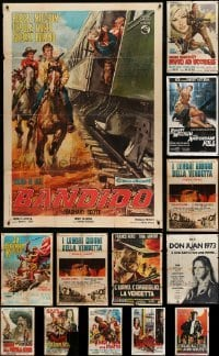 2m072 LOT OF 13 FOLDED ITALIAN ONE-PANELS '60s-70s spaghetti western, sword & sandal + more!