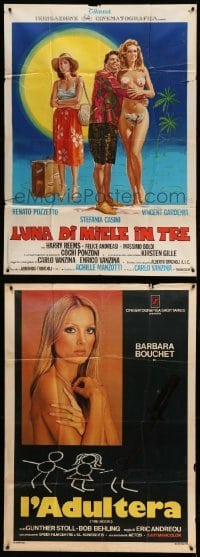 2m075 LOT OF 4 FOLDED ITALIAN ONE-PANELS '60s-70s crime, sexploitation, comedy & more!