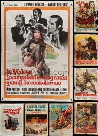 2m071 LOT OF 10 FOLDED ITALIAN ONE-PANELS '60s-70s spaghetti western, sexploitation + more!