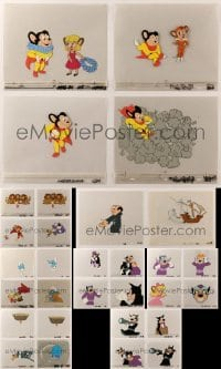 2m053 LOT OF 34 MIGHTY MOUSE AND SMURFS ANIMATION CELS '80s wonderful cartoon images!