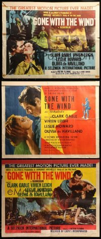 2m048 LOT OF 3 FOLDED GONE WITH THE WIND REISSUE HALF-SHEETS R47/R54 Clark Gable & Vivien Leigh!