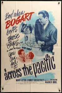 2z009 ACROSS THE PACIFIC 1sh '42 when Humphrey Bogart kisses Astor, you can feel it, ultra rare!