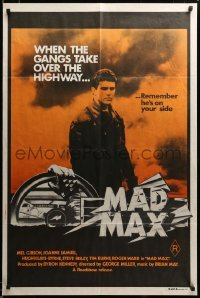 2z154 MAD MAX orange style Aust 1sh '79 Mel Gibson, George Miller classic, incredibly rare!