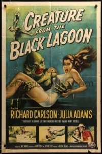 2z059 CREATURE FROM THE BLACK LAGOON 1sh '54 classic art of monster & sexy Julie Adams underwater!