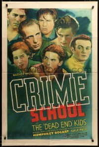 2z003 CRIME SCHOOL 1sh '38 great montage of Humphrey Bogart surrounded by the Dead End Kids, rare!