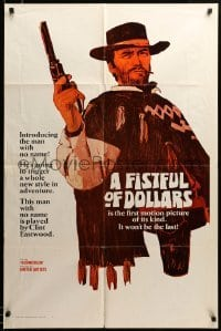 2z768 FISTFUL OF DOLLARS style A teaser 1sh '67 introducing the man with no name, Clint Eastwood!