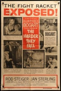 2z029 HARDER THEY FALL style B 1sh '56 Humphrey Bogart, Rod Steiger, boxing classic, cool images!