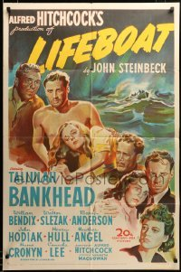 2z034 LIFEBOAT 1sh '43 Alfred Hitchcock, Steinbeck, art of Tallulah Bankhead + 6 cast members!
