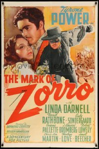 2z359 MARK OF ZORRO style A 1sh '40 classic art of masked hero Tyrone Power & Linda Darnell, rare!