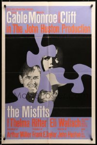 2z207 MISFITS int'l 1sh '61 completely different image of Marilyn Monroe, Gable & Clift, ultra rare!