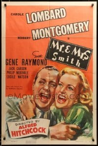 2z031 MR. & MRS. SMITH style A 1sh '41 Hitchcock, laughing Carole Lombard & Robert Montgomery!