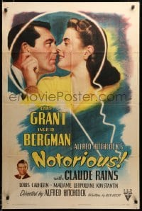 2z036 NOTORIOUS 1sh '46 Cary Grant & Ingrid Bergman in giant key, Alfred Hitchcock, ultra rare!